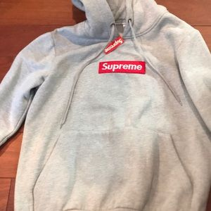 Supreme grey box logo hoodie bogo